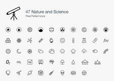 47 Natur und Wissenschafts-Pixel-perfekte Ikonen (Linie Art) Stockfotografie
