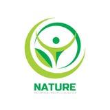 Natur - Vektorlogoschablonen-Konzeptillustration in der flachen Art Abstrakte Formen Grünes Blatt und menschliches Charakterschat Stockbild