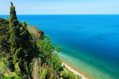 Natur von Piran in adriatischem Meer in Slowenien lizenzfreie stockfotos