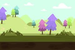 Natur zielonych wzgórzy krajobraz z drzewami Obrazy Royalty Free