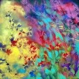 Natura astratta - pianta, olio su tela di canapa Fotografia Stock