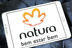 Natura beauty care company logo. Logo of natura beauty care company on samsung tablet stock images