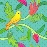 Natura bezszwowy wzór z ptakiem i liściem Zdjęcie Royalty Free