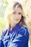 Natura czystego portreta blondynki dziewczyny piękna kobieta Zdjęcia Royalty Free