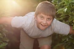 Natura d'esplorazione del ragazzo Fotografie Stock Libere da Diritti