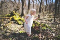 Natura d'esplorazione della piccola ragazza del bambino nel legno fotografia stock libera da diritti