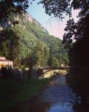 Natura del fiume di ricciolo delle montagne del ponte Fotografia Stock