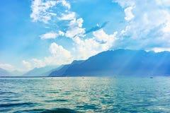 Natura del lago geneva nello svizzero Riviera di Vevey Fotografia Stock