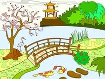 Natura del libro di colore del Giappone per il fumetto dei bambini Quadro televisivo giapponese del giardino fotografie stock