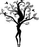 Natura della donna con gli uccelli Immagini Stock Libere da Diritti