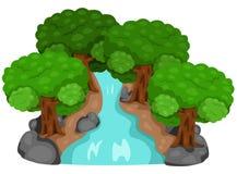 Natura della foresta e della cascata Illustrazione di Stock