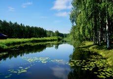 Natura di estate, fiume nel giorno calmo Fotografia Stock Libera da Diritti