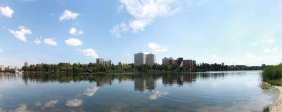 Natura, Donec'k, orizzonte della città Fotografia Stock