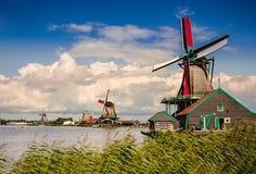 Natura e mulini a vento in Zaanse Schans, l'Olanda Settentrionale, Netherland Immagine Stock Libera da Diritti