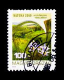 Natura 2000 - Habitat Protection, Environment Protection serie,. MOSCOW, RUSSIA - NOVEMBER 26, 2017: A stamp printed in Hungary shows Natura 2000 - Habitat royalty free stock image