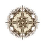 Natura kompas w Unikalnym Drzewnym mandala wiatrze Wzrastał royalty ilustracja