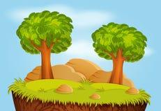 Natura krajobraz z drzewami i kamieniami ilustracji