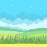 Natura krajobraz z niebieskim niebem i polami Obraz Royalty Free