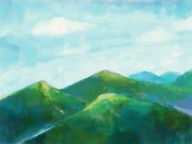 Natura krajobraz z zielonymi górami i nieba tła ilustracją Piękna sceny natura ilustracji