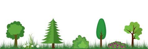 Natura krajobrazu drzewa, krzaki, kwiaty i trawa, royalty ilustracja