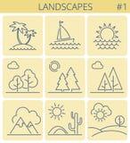 Natura krajobrazu linii symbole Wektoru konturu ikony cienki set ilustracji