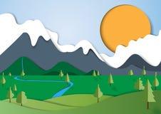 Natura krajobrazu papieru sztuki styl Obrazy Stock