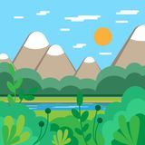 Natura LATO krajobraz Wektorowy tło Płaski projekt ilustracji
