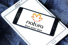 Natura logo. Logo of natura beauty care company on samsung mobile on samsung tablet royalty free stock photo