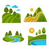 Natura logo krajobrazowi szablony dla zielonego ekologii środowiska, kształtować teren projektować, horticulture i podróż lub royalty ilustracja