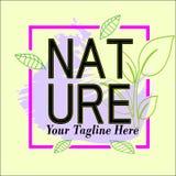 Natura logo ramowy szablon dla sprzedaży royalty ilustracja