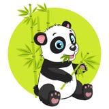 Natura magica Illustrazione di Panda Eats Bamboo Branch Vector del fumetto Fotografia Stock