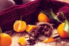 Natura morta calda con i mandarini ed il maglione tricottato Immagini Stock