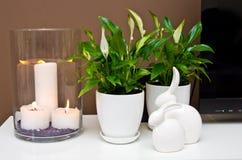 Natura morta ceramica dei coniglietti di pasqua Fotografie Stock