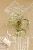 Natura morta con aglio, i germogli, i fiori e la bobina di cordicella Fotografia Stock
