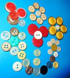 Natura morta con dei colori differenti i bottoni Fotografia Stock Libera da Diritti