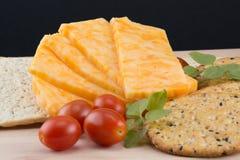 Natura morta con formaggio, cracker e pomodori ed origano freschi immagine stock