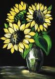 Natura morta con i girasoli su un fondo nero Dipinto a mano su un'illustrazione di carta royalty illustrazione gratis