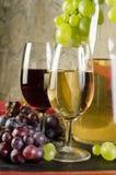 Natura morta con i vetri di vino, le bottiglie di vino e l'uva Fotografia Stock