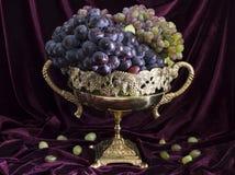 Natura morta con l'uva in vaso 1 Fotografie Stock Libere da Diritti