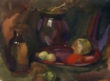 Natura morta con la bottiglia, il vaso ed i frutti Pittura dell'acquerello Immagini Stock Libere da Diritti