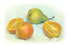 Natura morta con la pera e le arance Immagine Stock