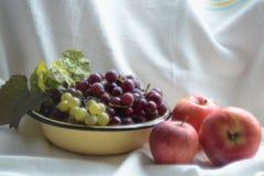 Natura morta con le mele e l'uva immagine stock libera da diritti