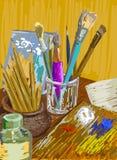 Natura morta con le spazzole e le matite nello stile di espressionismo Fotografie Stock Libere da Diritti