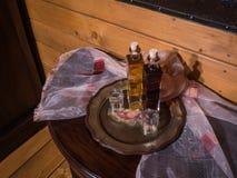 Natura morta con liquore, Trikala Korinthias, il Peloponneso, Grecia Immagine Stock Libera da Diritti