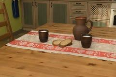 Natura morta con terraglie, latte e pane nella cucina Immagine Stock Libera da Diritti