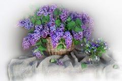 Natura morta con un mazzo del lillà di fioritura su un lillà leggero immagine stock