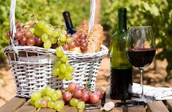 Natura morta con vetro dell'uva del vino rosso e del canestro di picnic sui tum Immagine Stock