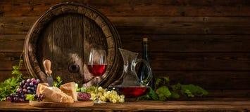 Natura morta con vetro di vino rosso Fotografia Stock Libera da Diritti