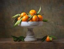 Natura morta d'annata con i mandarini Fotografia Stock Libera da Diritti