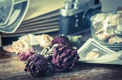 Natura morta d'annata con le vecchie foto Fotografie Stock